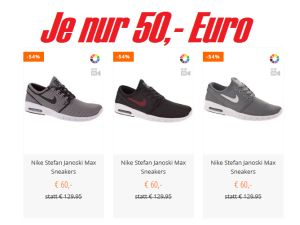 Schnell sein: Verschiedene Modelle Nike Stefan Janoski Max für je nur 50,- Euro inkl. Versand!