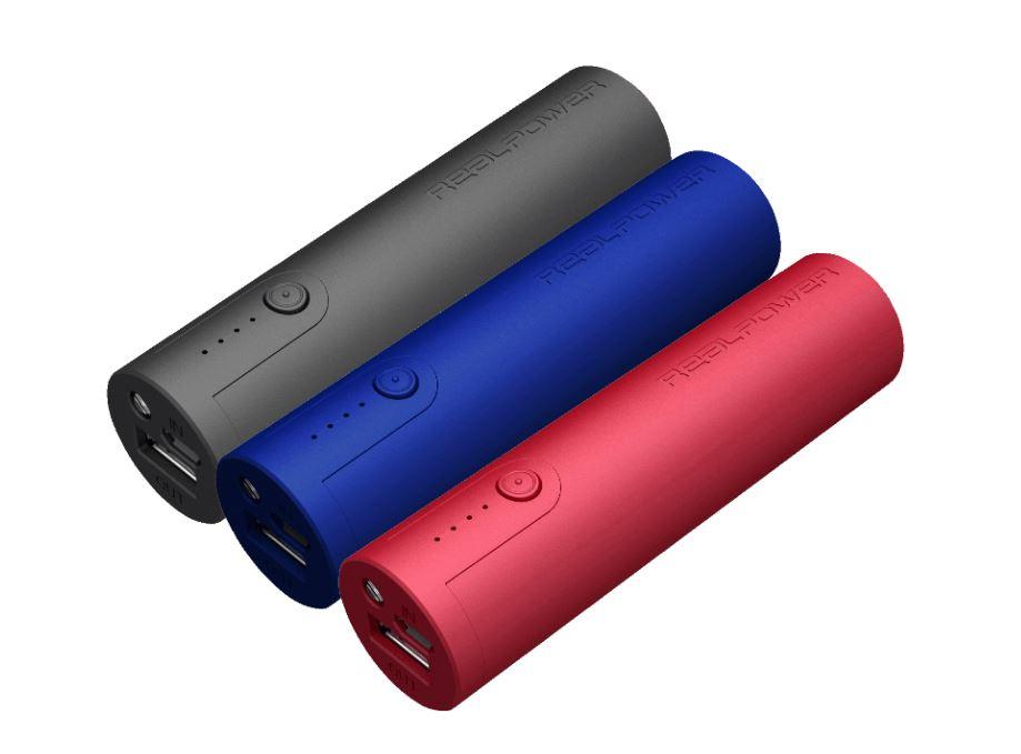 Wieder da: 3er Pack REALPOWER PB 260 2600 mAh in Rot, Blau & Schwarz für nur 9,99 Euro