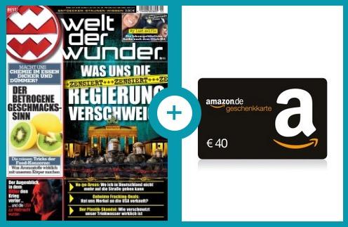 """Gibt Gehirnschmalz! Das Jahresabo """"Wunderwelt Wissen"""" durch Amazon-Gutschein effektiv nur 8,- Euro"""