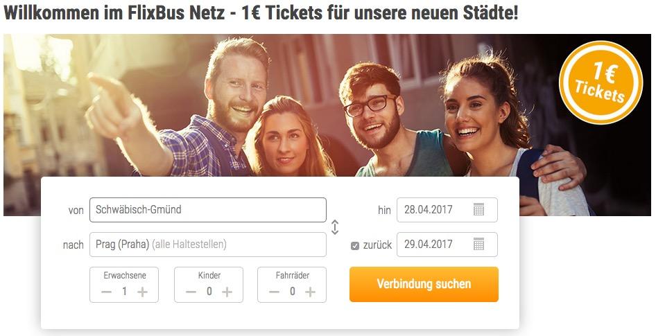 Bei Flixbus jetzt 10.000 Tickets für 1,- Euro für neue Städte