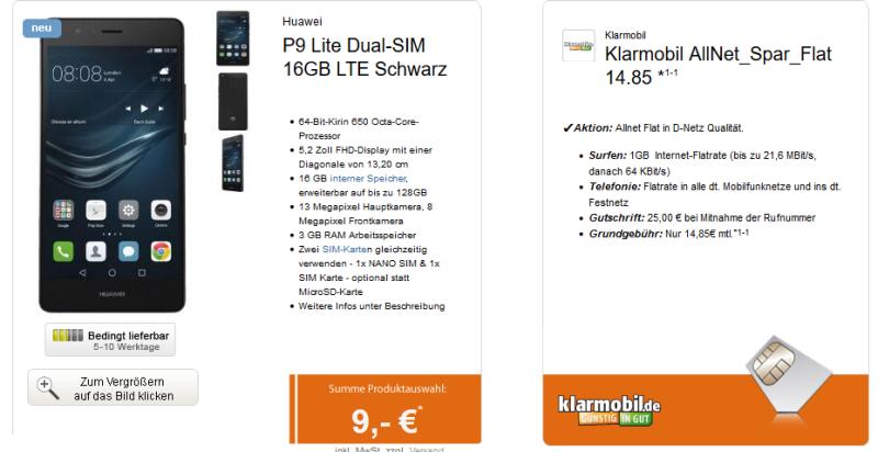 klarmobil allnet spar flat f r 14 85 euro pro monat huawei p9 lite smartphone f r einmalig 9. Black Bedroom Furniture Sets. Home Design Ideas