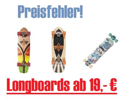 Preisfehler bei Amazon Frankreich: Verschiedene Skateboards und Longboards von Duster ab ca. 19,- Euro inkl. Versand