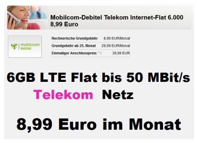 fette 6gb lte flat im telekom netz nur 8 99 euro pro monat. Black Bedroom Furniture Sets. Home Design Ideas