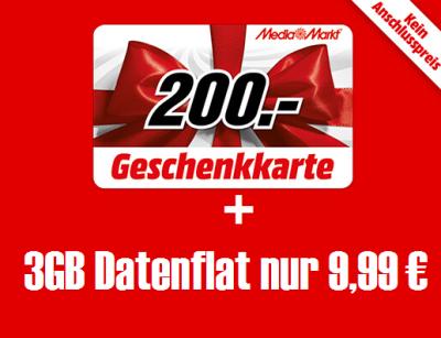 Kracher! Mobilfunkdeal bei Media Markt: 3GB Datenflat im Telekom Netz für effektiv 2,07 Euro pro Monat!