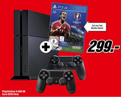 PlayStation 4 CUH-1216A 500GB mit 2 Controller + UEFA Euro 2016 für 299,- Euro!