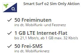 Knaller! Smart Surf o2 Aktion mit 50 Minuten + 50 SMS + Internet-Flat 1GB 21MBit nur 2,99 Euro statt normal 11,99 Euro