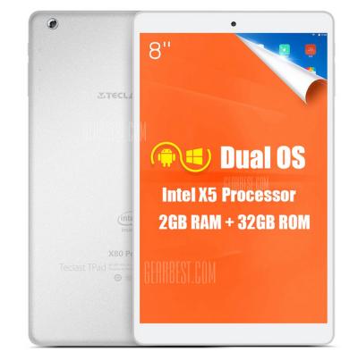 Nur 20 Stück! Teclast X80 Power Tablet mit Metallgehäuse, 2GB Ram, 8″ Full HD Display, Win 10 & Android für 83,34 Euro