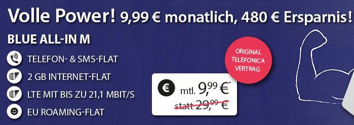Tarif o2 Blue All-in M mit 2GB Datenvolumen, Allnet-Flat und SMS-Flat nur 9,99 Euro monatlich!