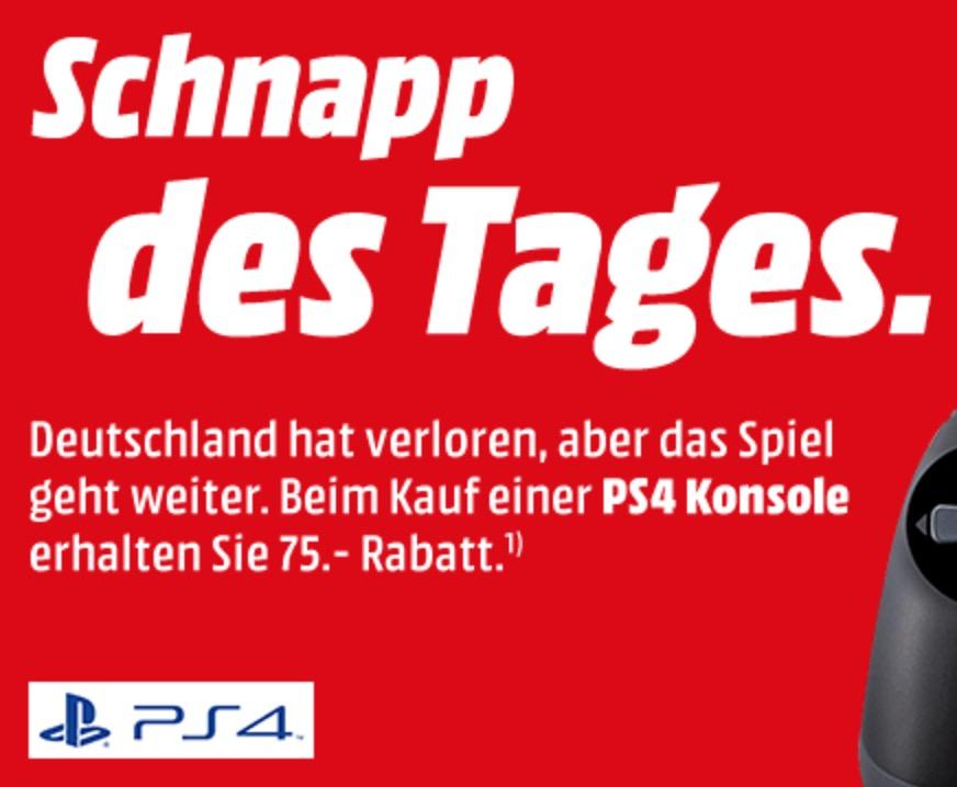 Schnapp des Tages: 75,- Euro Rabatt auf verschiedene PlayStation 4 Modelle und Bundles bei Mediamarkt!