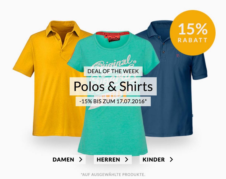 Engelhorn Weekly Deals – 15% Rabatt auf Poloshirts & Shirts im Fashion- und Sportsshop