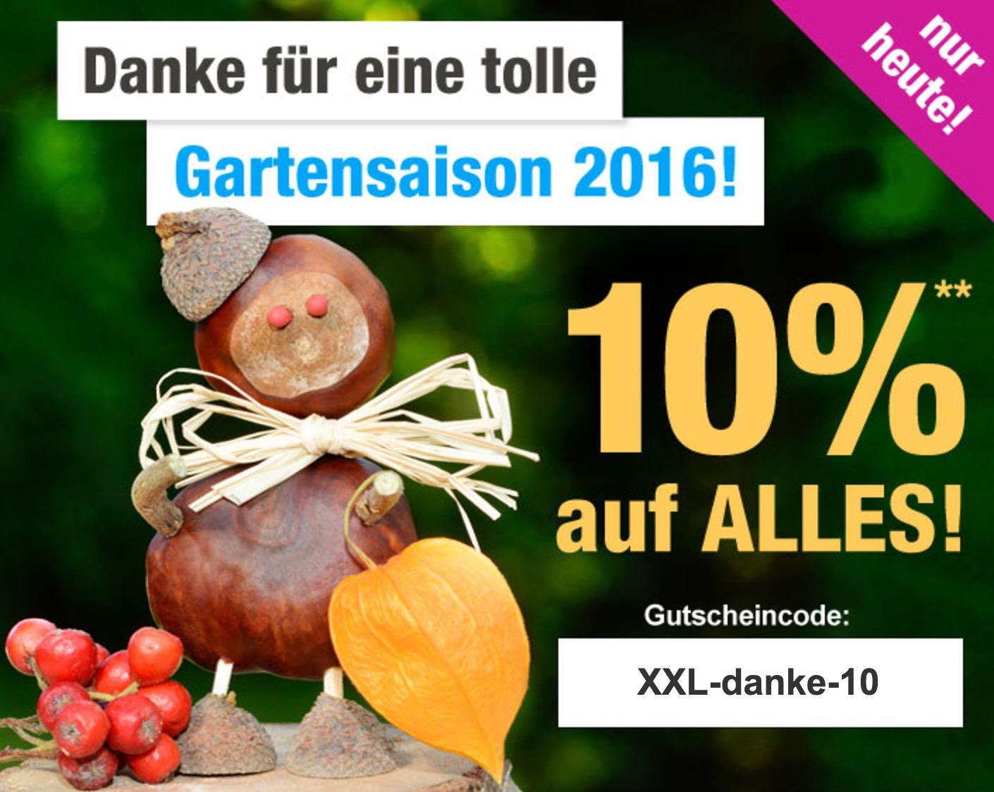 Nur heute: 10% Rabatt auf das gesamte Sortiment bei GartenXXL