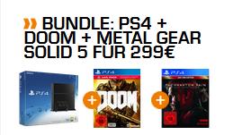 Playstation 4 500GB Bundle mit Metal Gear Solid 5 + Doom für 299,- Euro