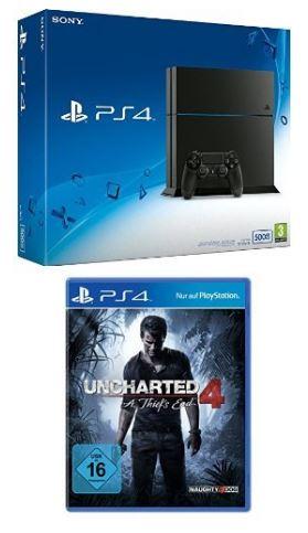 Sony PlayStation 4 (500GB, schwarz) [CUH-1216A] + Uncharted 4: A Thief's End für nur 269,97 Euro inkl. Versand