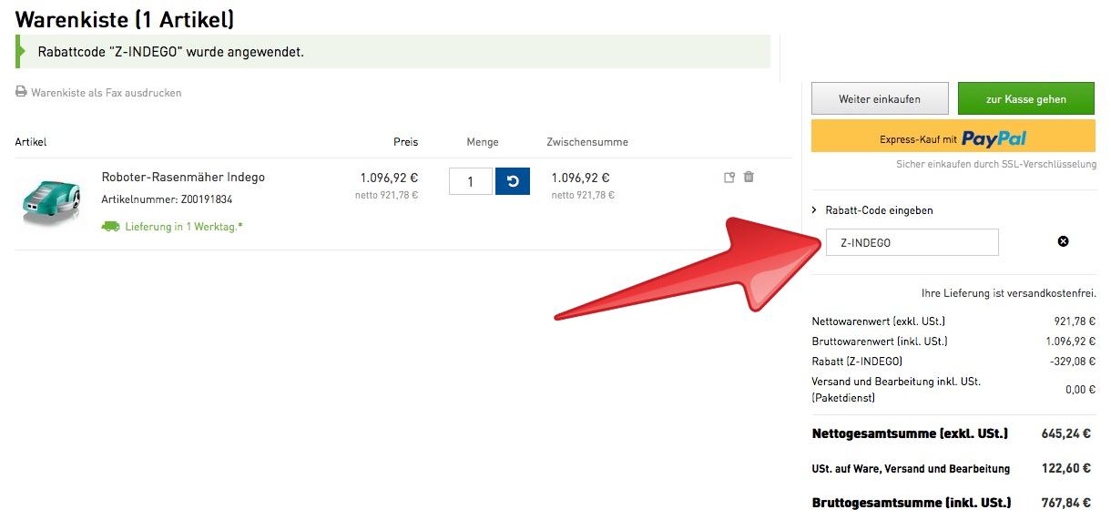 bosch roboter rasenm her indego nur 767 84 euro inkl versand statt 900 euro. Black Bedroom Furniture Sets. Home Design Ideas