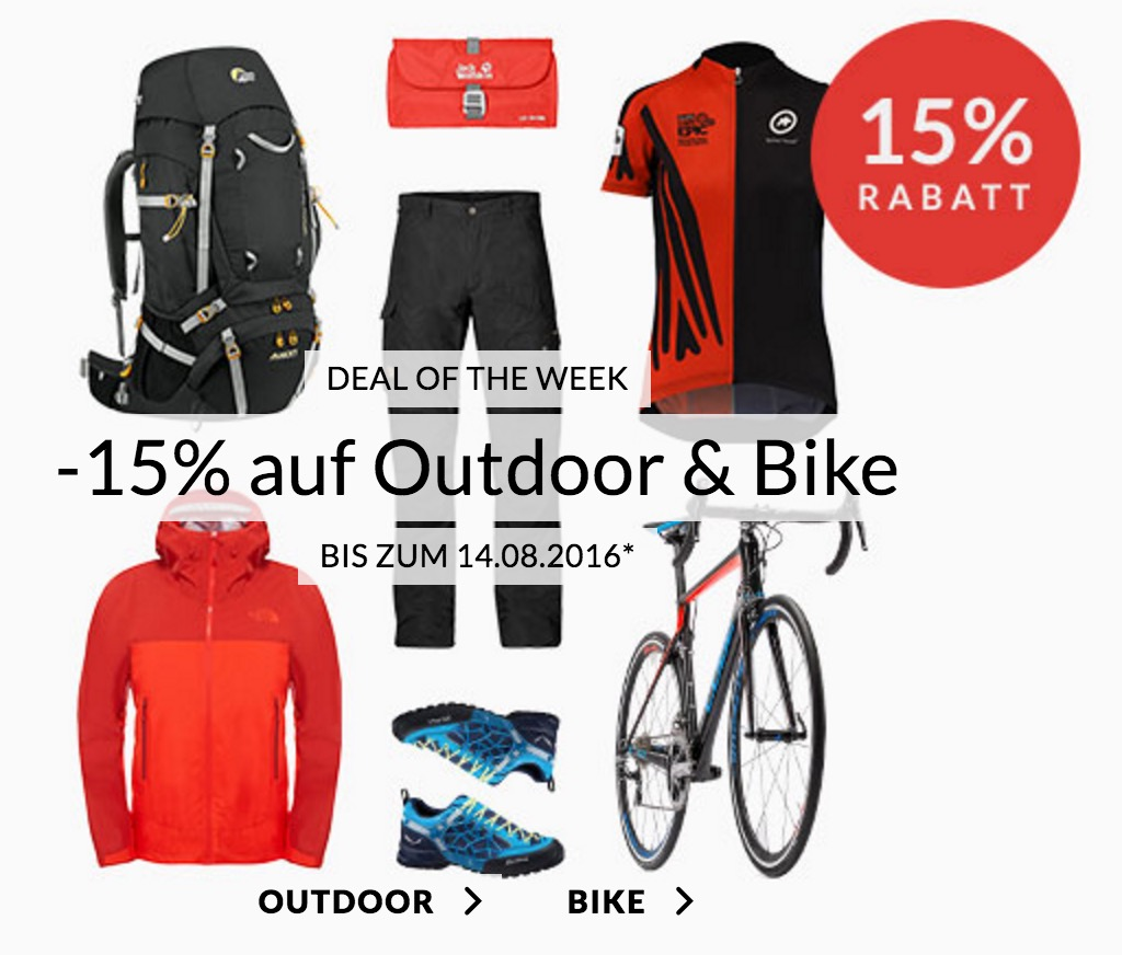 Engelhorn Weekly Deals: 15% Rabatt auf Outdoor & Bike Artikel im Sports Shop