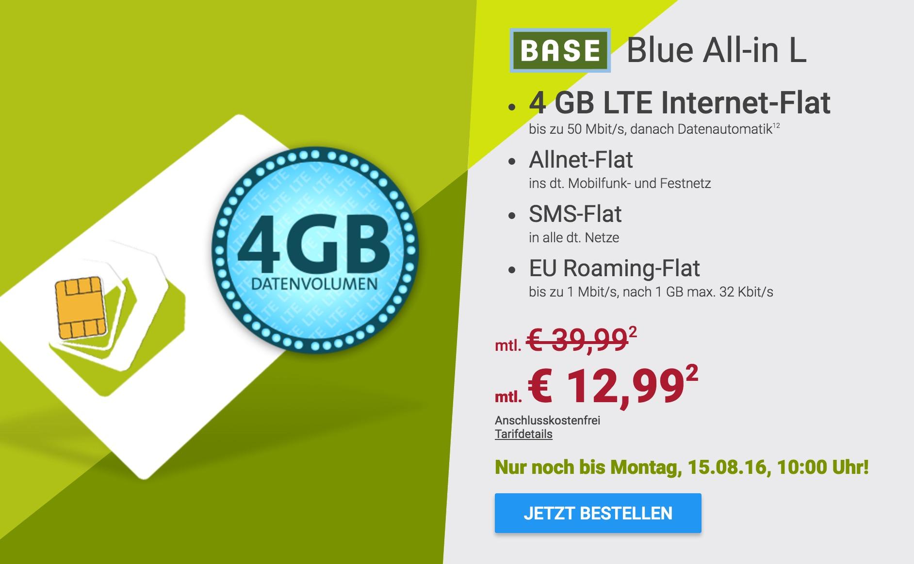 tarif base blue all in l sim only mit 4gb datenvolumen. Black Bedroom Furniture Sets. Home Design Ideas