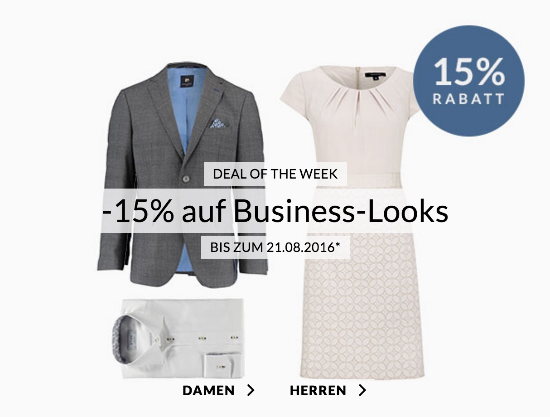 Engelhorn Weekly Deals – z.B. 15% Rabatt auf Business-Looks
