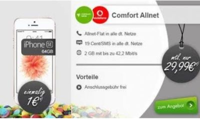 md vodafone comfort allnet mit allnet flat 2gb daten und iphone se64 gb f r 29 99 euro pro. Black Bedroom Furniture Sets. Home Design Ideas
