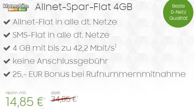 klarmobil allnet spar flat 4gb allnet flat sms flat d netz f r effektiv nur 14 85 euro mtl. Black Bedroom Furniture Sets. Home Design Ideas
