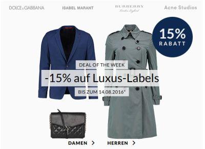 15% Rabatt auf Luxusmarken wie Boss, Burberry oder Kenzo bei Engelhorn + 5,- Euro Gutschein!