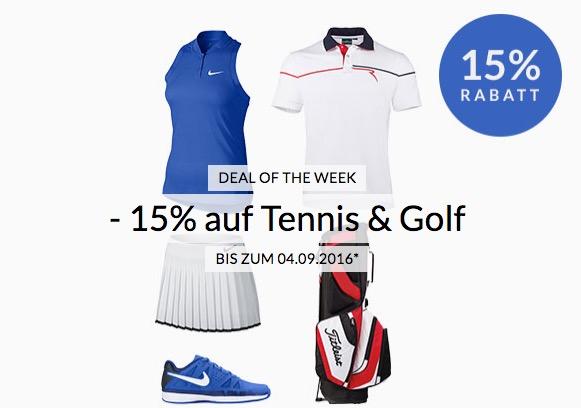 Engelhorn Sports Weekly Deal: -15%  Rabatt auf das Golf und Tennis Sortiment
