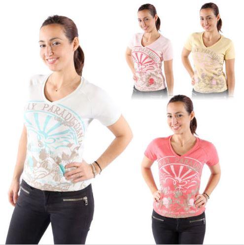 Verschiedene Teddy's Damen T-Shirts mit V-Ausschnitt aus Baumwolle