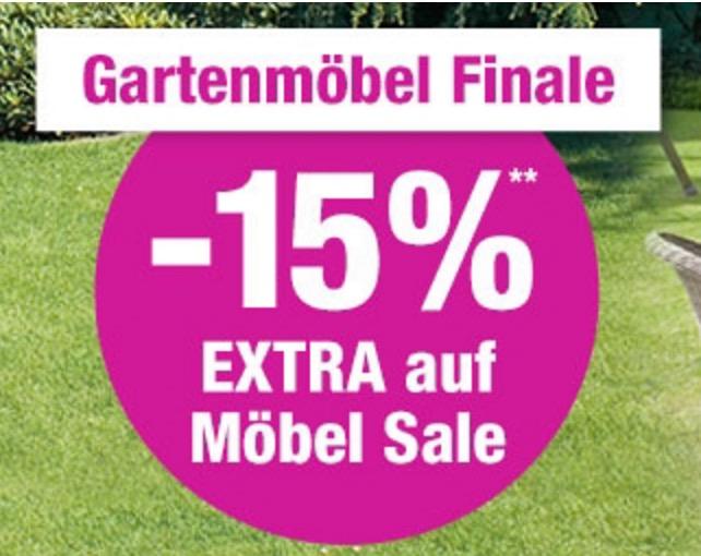 15% Extrarabatt auf bereits reduzierte Gartenmöbel bei GartenXXL!