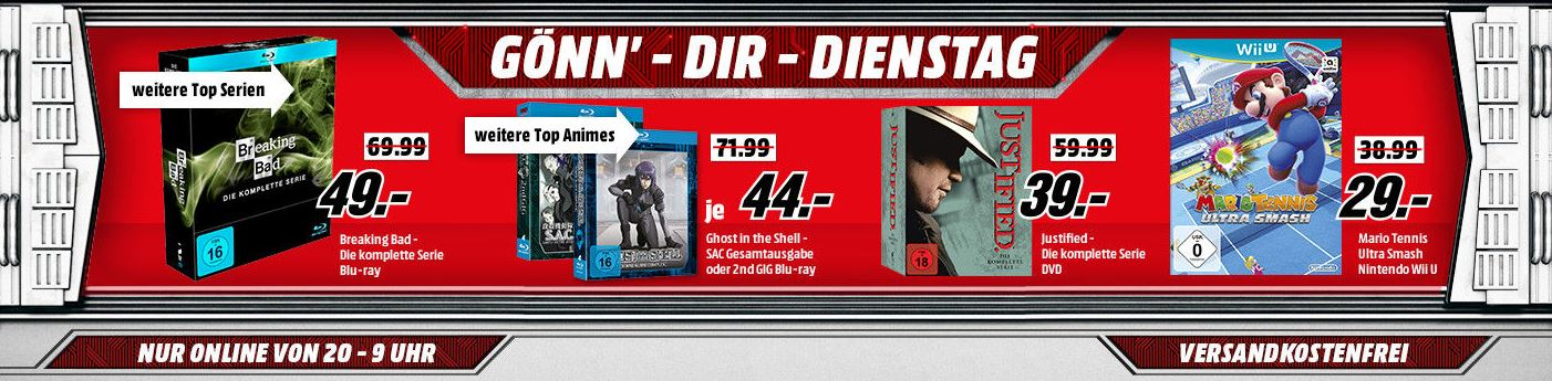 "Media Markt ""Gönn' dir Dienstag"" mit u.a. Serien Blu-Rays/DVDs ab 11,- Euro (Breaking Bad, House of Cards, Better Call Saul u.v.m.) bzw. komplette Breaking Bad Serie für nur 46,- Euro"