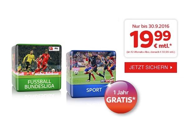 Letzte Chance! Sky Bundesliga und Sky Sport zusammen nur 19,99 Euro monatlich ohne Aktivierungsgebühr!