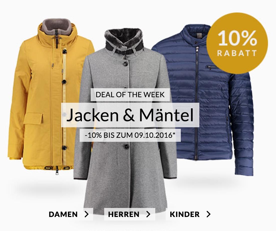 Die Engelhorn Weekly Deals – z.B. 10% auf Jacken & Mäntel