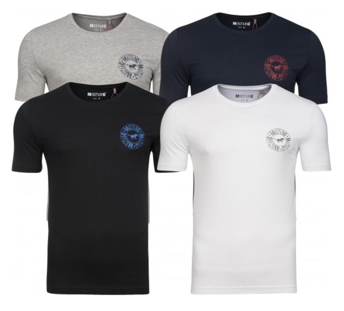 Doppelpack Mustang Logo Print Herren T-Shirts nur 17,99 Euro