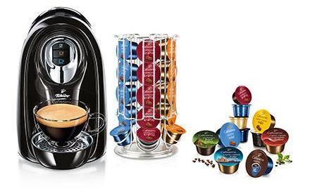Tchibo Cafissimo COMPACT Professional Black + 80 Kapsel (70x versch. Kaffee +10x Tee) + Kapselhalter für nur 39,- Euro inkl. Versand