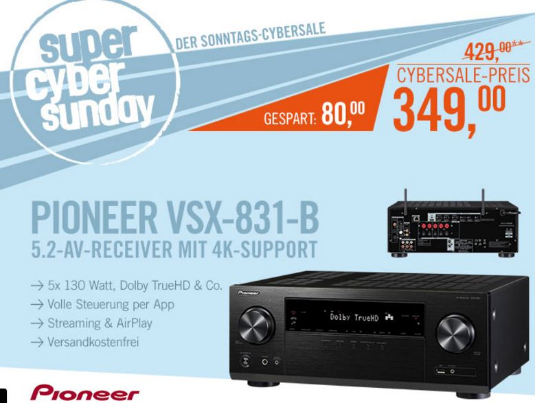 5.2 Pioneer VSX-831-B AV-Receiver (4K, Airplay, Bluetooth, WiFi) in Schwarz für nur 349,- Euro inkl. Versand