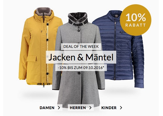 Heute neu: Engelhorn Weekly Deal mit 10% Extra-Rabatt auf Jacken & Mäntel