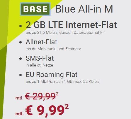 Base Blue All-in M mit 2GB Daten für nur 9,99 Euro monatlich
