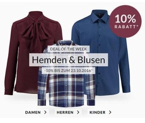 Engelhorn Weekly Deals – z.B. 10% Rabatt auf Hemden & Blusen