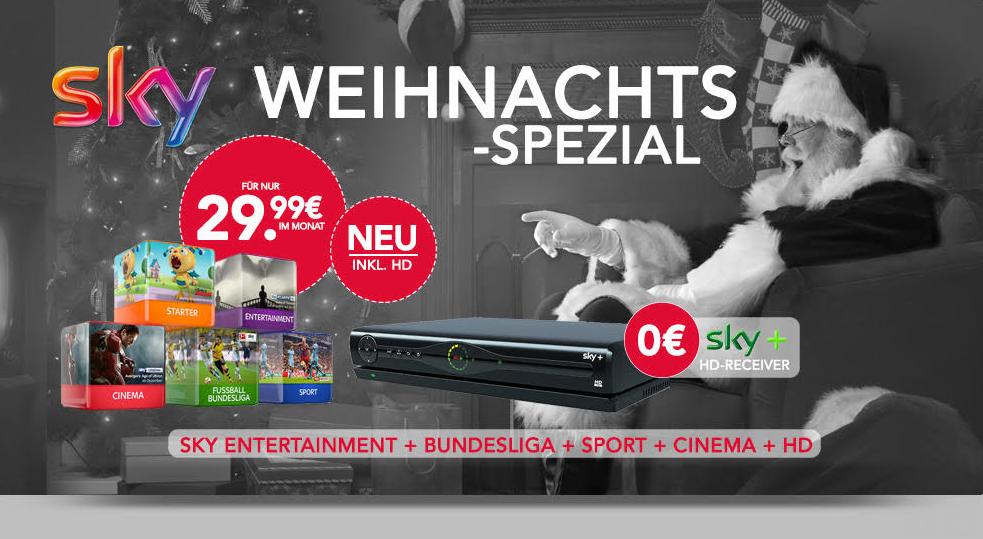 Endet um 20:00 Uhr! Sky Entertainment Paket mit Sport + Bundesliga + Cinema inklusive HD und SkyGo und Sky+ HD-Receiver für nur 29,99 Euro monatlich