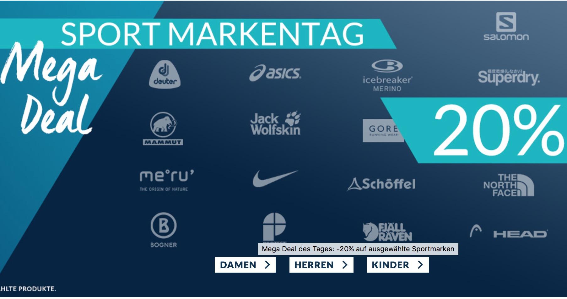 Sport Markentage mit 20% Extra-Rabatt auf zahlreiche Marken wie Nike, Adidas oder Jack Wolfskin