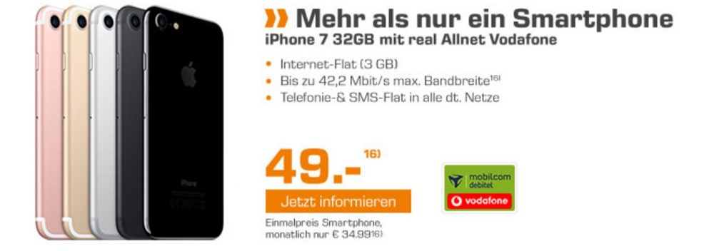 das neue apple iphone 7 32gb mit vodafone allnet flatrate. Black Bedroom Furniture Sets. Home Design Ideas