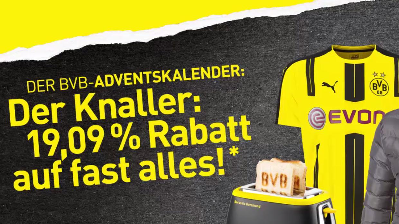 Schwarzgelber Samstag! Im BVB Online-Shop heute 19,09% auf nahezu das ganze Sortiment