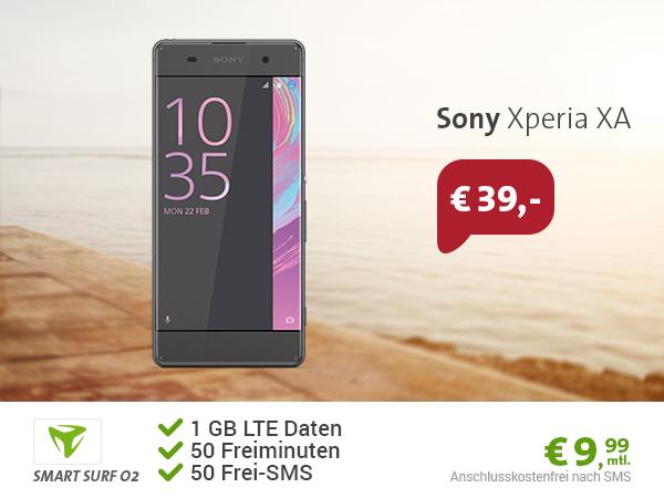 o2 Smart Surf Tarif (50 Freiminuten, 50 Frei-SMS, 1GB LTE Internet Flat) + Sony Xperia XA effektiv nur 1,95 Euro monatlich