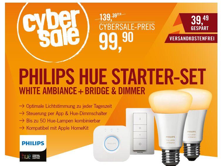Philips Hue White Ambiance Starter Set inkl. Bridge für 99,90 Euro versandkostenfrei!