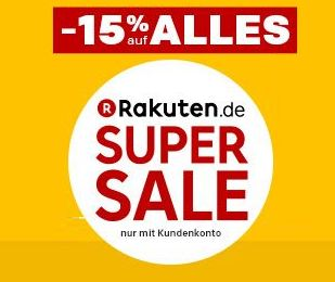 Kracher! Neue Artikel online! 15% auf Alles bei Rakuten + 15-fache Superpunkte aus Super Deals!