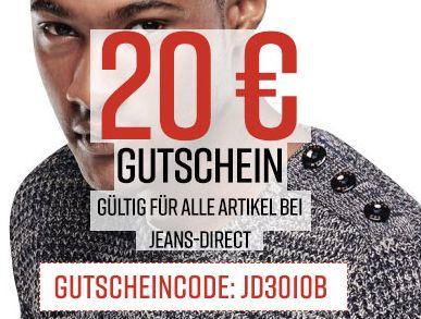 Jeans-Direct Sale mit bis zu 60% Rabatt und bis zu 20,- Euro Rabatt durch Gutscheincode