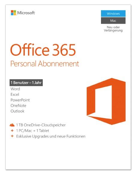Jahresabo Office 365 Personal Abonnement für 1 Rechner nur 29,- Euro inkl. Versand