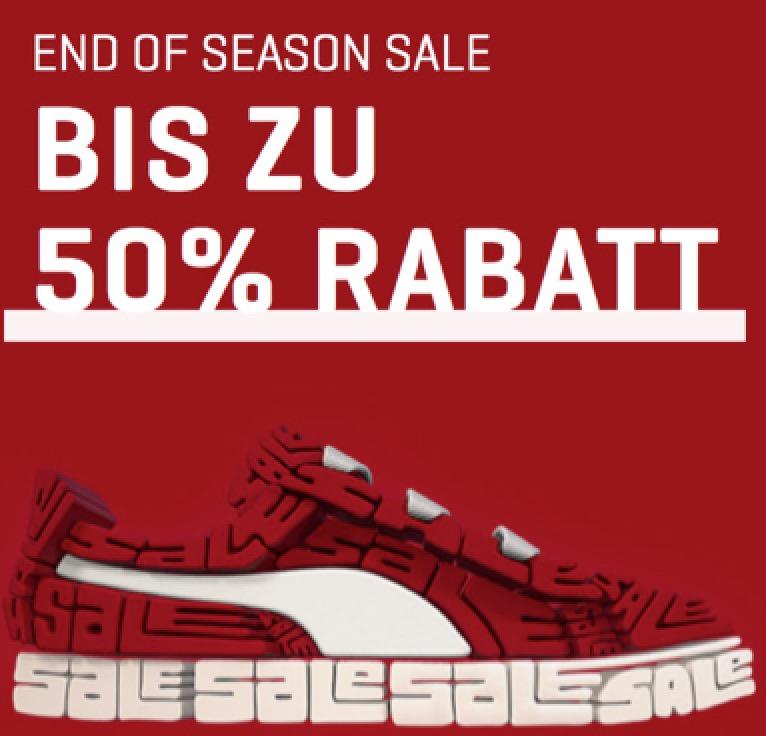 End of Season Sale im Puma Onlineshop mit bis zu 50% Rabatt