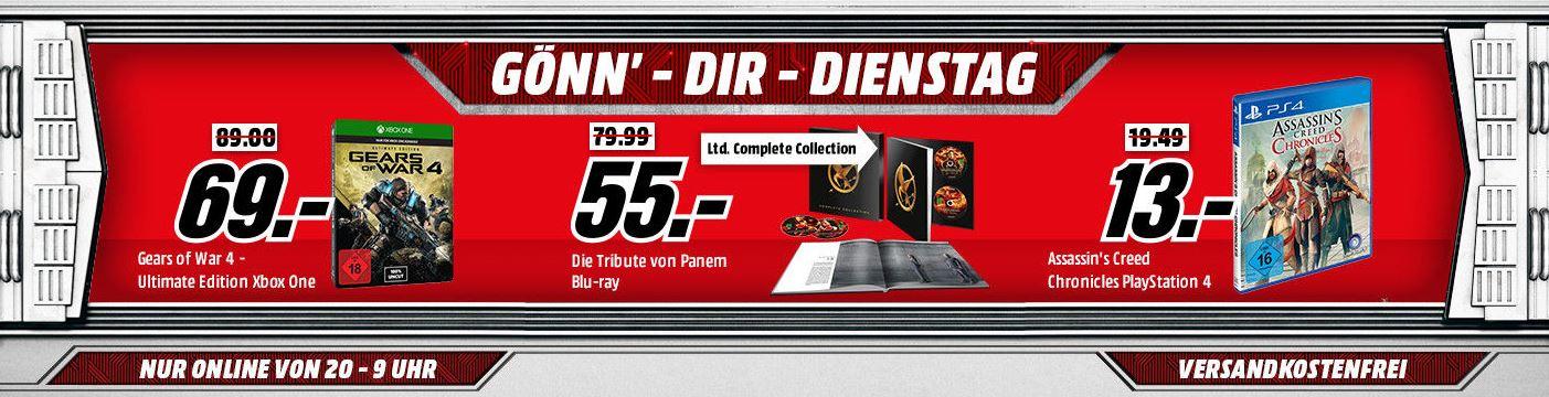 Media Markt Gönn dir Dienstag Deals mit verschiedenen Deals für Gamer und Filmbegeisterte – z.B. Mafia 3 (Collector's Edition) [Xbox One] für nur 95,- Euro inkl. Versand – statt 125,- Euro