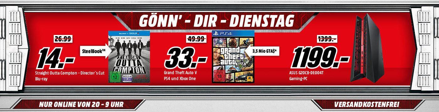 """Media Markt Gönn dir Dienstag Deals mit verschiedenen Deals für Gamer und Filmbegeisterte – GTA 5 [PS4/Xbox One] + """"3,5 Mio Ingame Dollar""""-Gutschein für nur 33,- Euro inkl. Versand"""