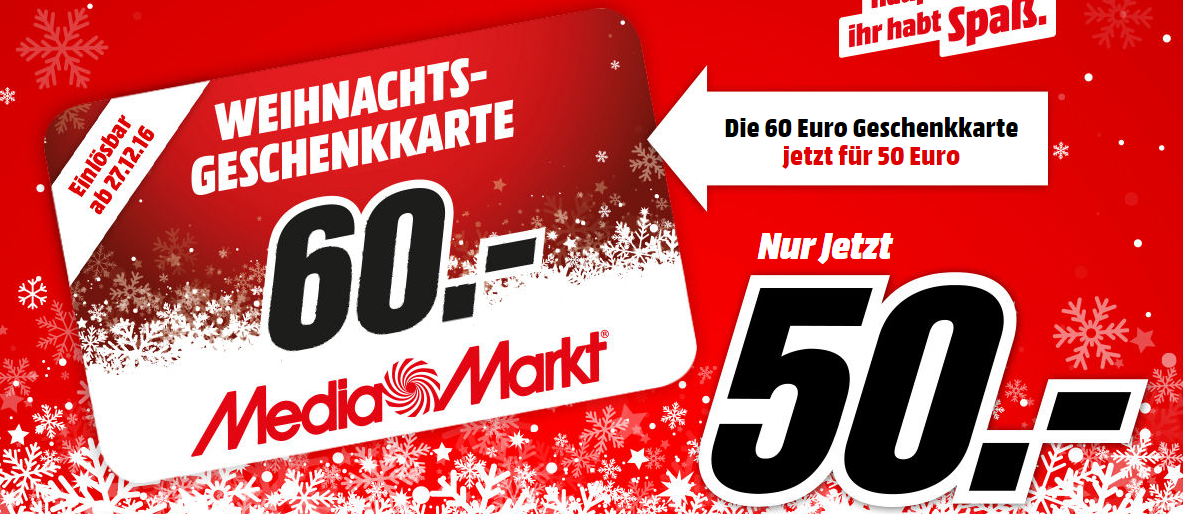60,- Euro Mediamarkt Geschenkkarte für nur 50,- Euro kaufen