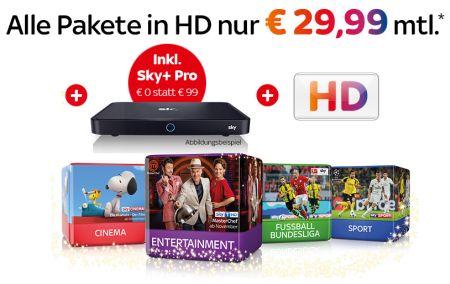 Nur noch bis 23:59 Uhr! Sky inkl. HD (Entertainment, 3 Premium-Pakete, Sky Go) mit Sky Pro+ UHD-Receiver nur 29,99€ monatlich!
